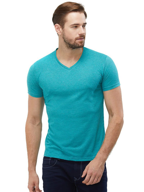 Aqua Mel V Neck Plain T-Shirt