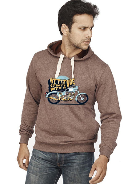 Attitude Starts With A Kick Front Print Sweatshirt - Wear Your Opinion - WYO.in
