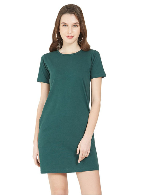 Plain Bottle Green Women T-Shirt Dress