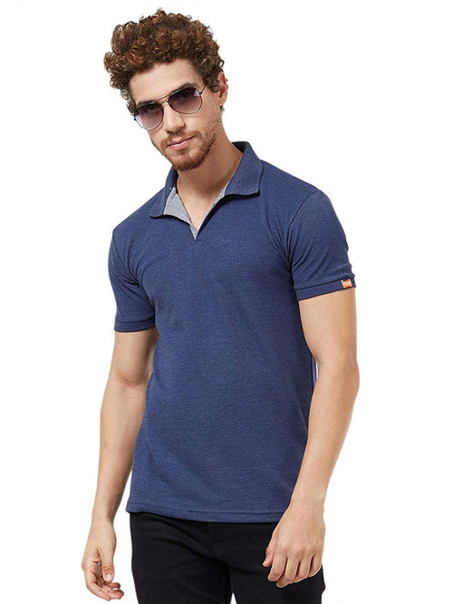 Basic Slim Fit PQ Polo T-Shirt - Navy Melange