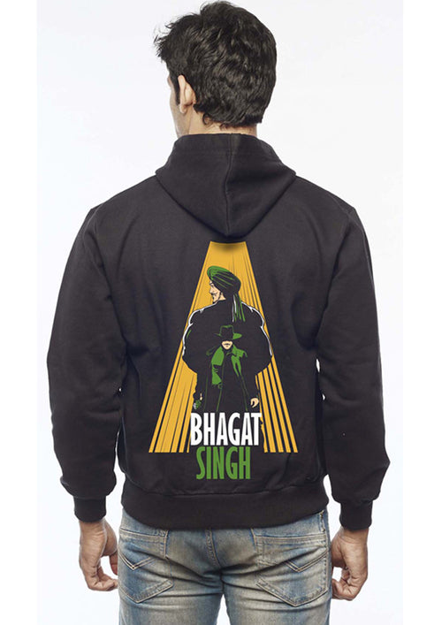 Bhagat Singh In His Shadow Back Print Zipper Sweatshirt - Wear Your Opinion - WYO.in  - 1