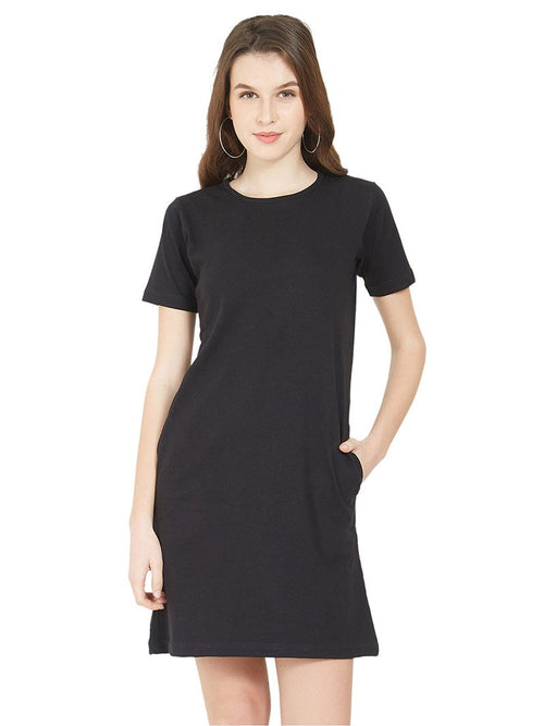 Plain Black Women T-Shirt Dress