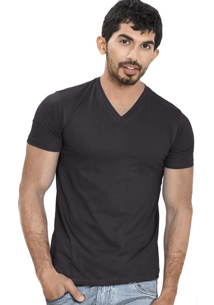 Black V Neck Plain T-Shirt