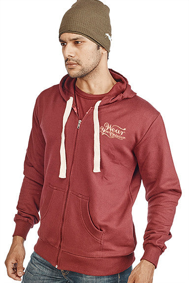 Burgundy Plain Zipper Sweatshirt - Wear Your Opinion - WYO.in  - 1