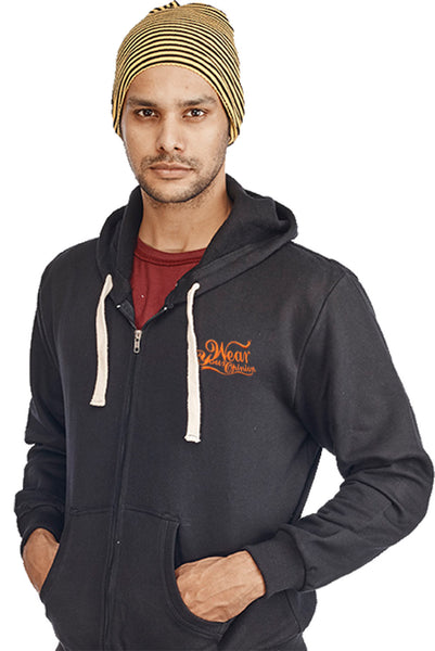 Black Plain Zipper Sweatshirt - Wear Your Opinion - WYO.in  - 1