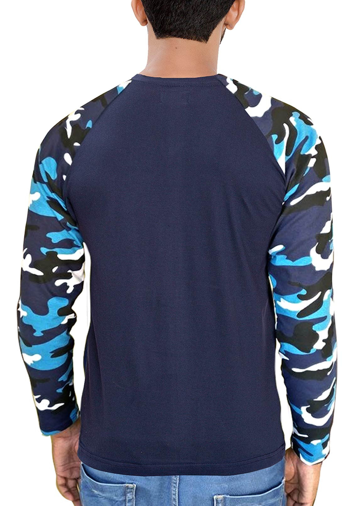 2e91f5fd Army Blue Camouflage Raglan Full Sleeves T-Shirt | Printed Blue Camo ...