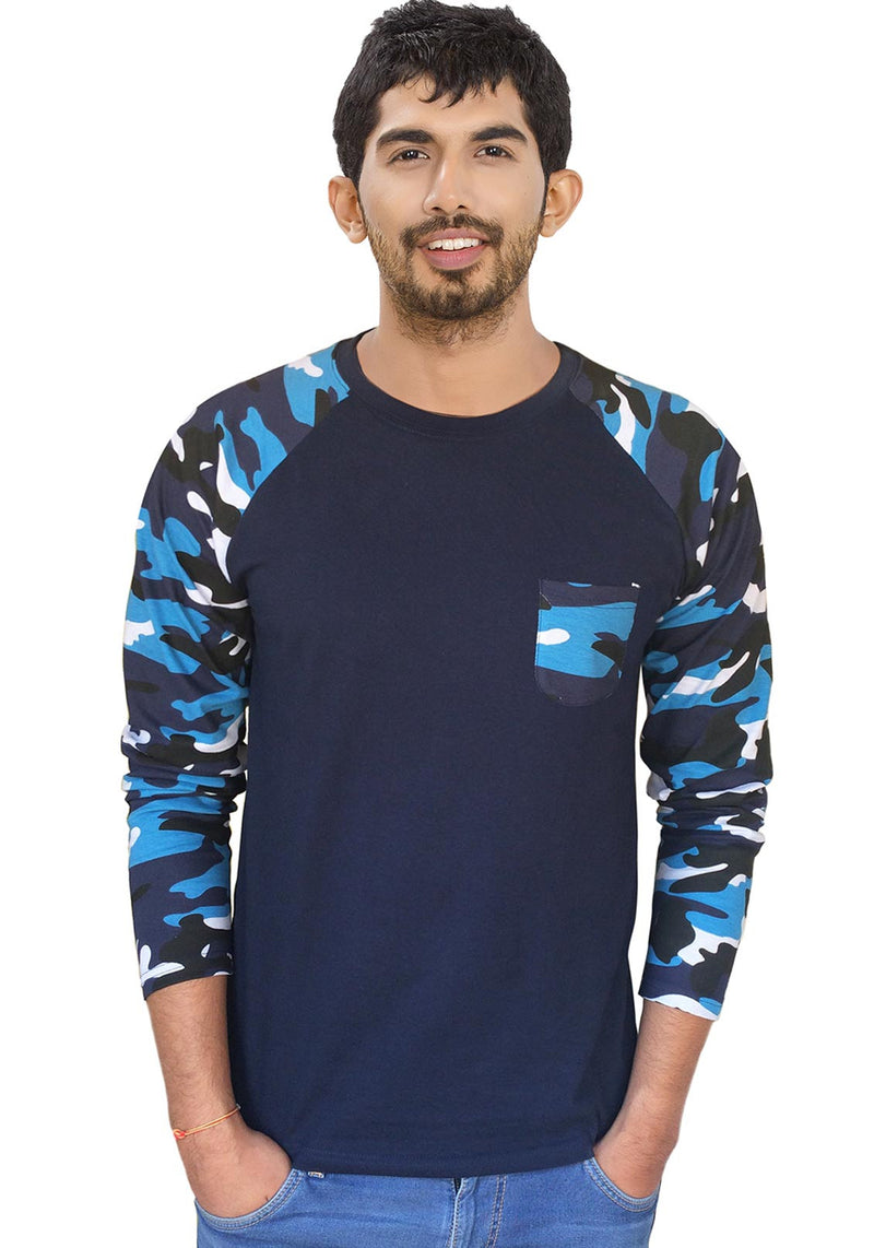 Men Blue Camouflage With Black Raglan Full Sleeve T-Shirt - Wear Your Opinion - WYO.in