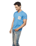 Blue V Neck T-Shirt Patch Pocket - Wear Your Opinion - WYO.in  - 4