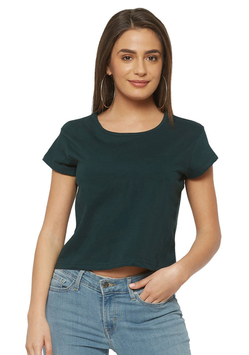 Crop Top - Bottle Green