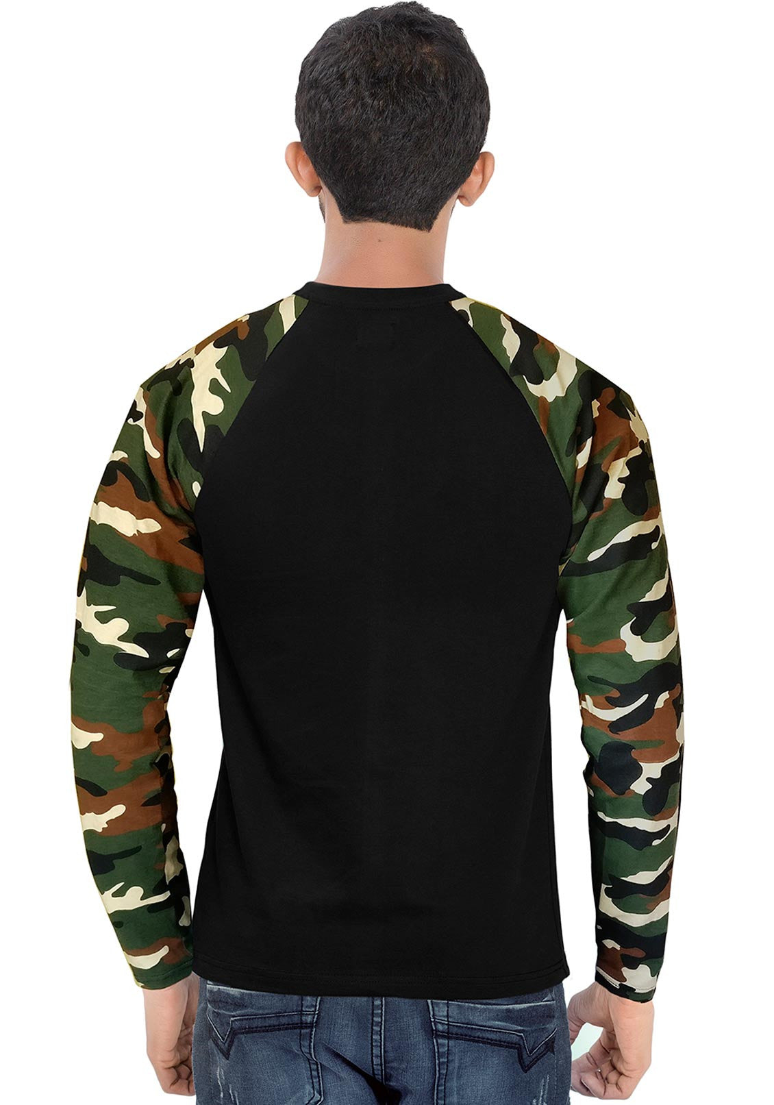 3b7eb72f10a ... Men Brown Camouflage With Black Raglan Full Sleeve T-Shirt - Wear Your  Opinion -