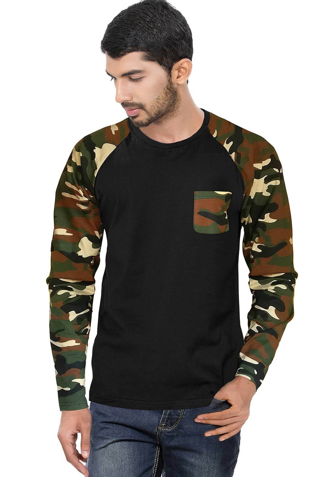Army camouflage raglan full sleeves t shirt printed camo for Full black t shirt