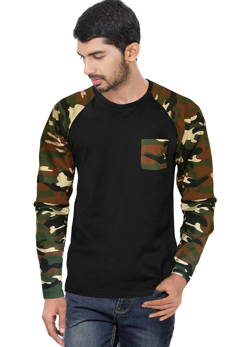 Men Brown Camouflage With Black Raglan Full Sleeve T-Shirt - Wear Your Opinion - WYO.in  - 1