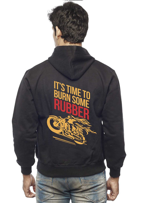 Burn Some Rubber Back Print Zipper Sweatshirt - Wear Your Opinion - WYO.in  - 1