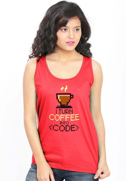 Coffee Code Sleeveless T-Shirt - Wear Your Opinion - WYO.in  - 1