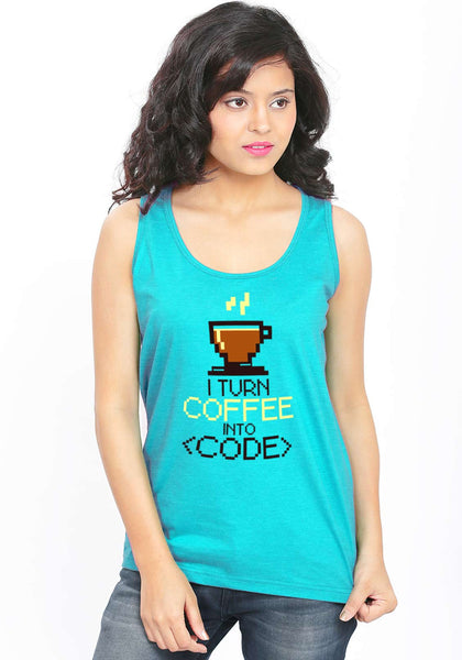 Coffee Code Sleeveless T-Shirt - Wear Your Opinion - WYO.in  - 2