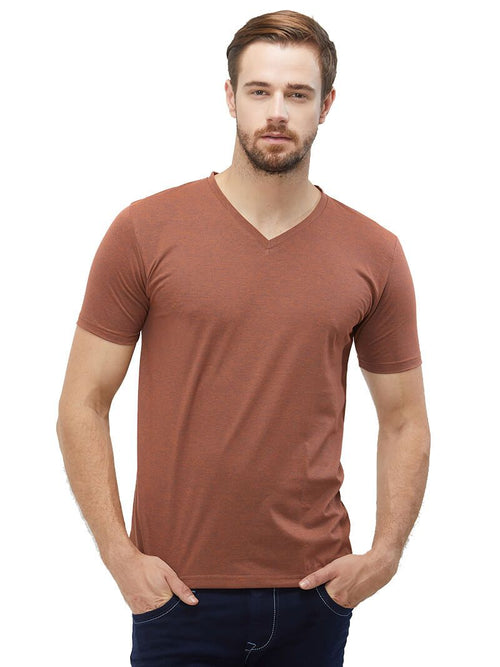 Coffee Mel V Neck Plain T-Shirt
