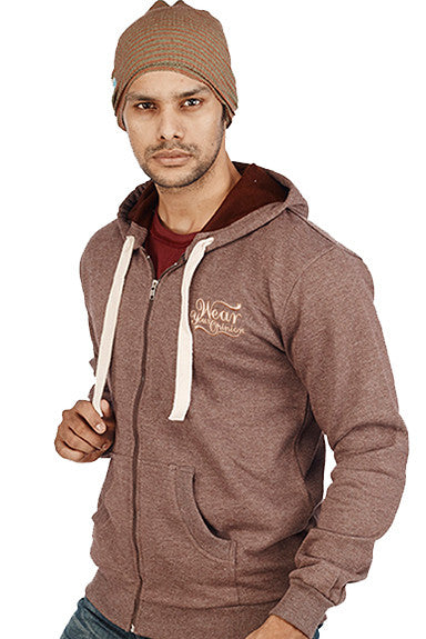 Coffee Melange Plain Zipper Sweatshirt - Wear Your Opinion - WYO.in  - 1