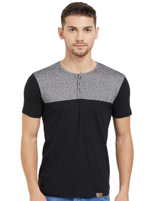 Colour Block Henley Black/Poly Black T-Shirt