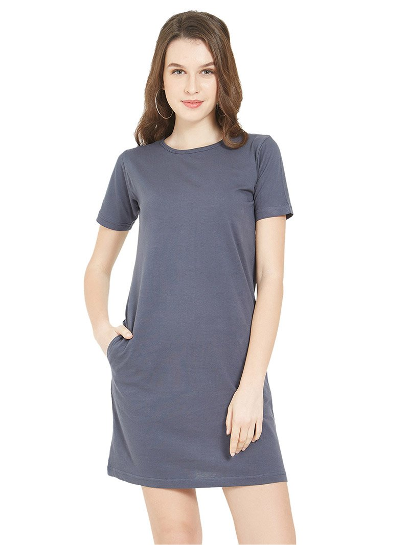 Plain Dark Grey Women T-Shirt Dress