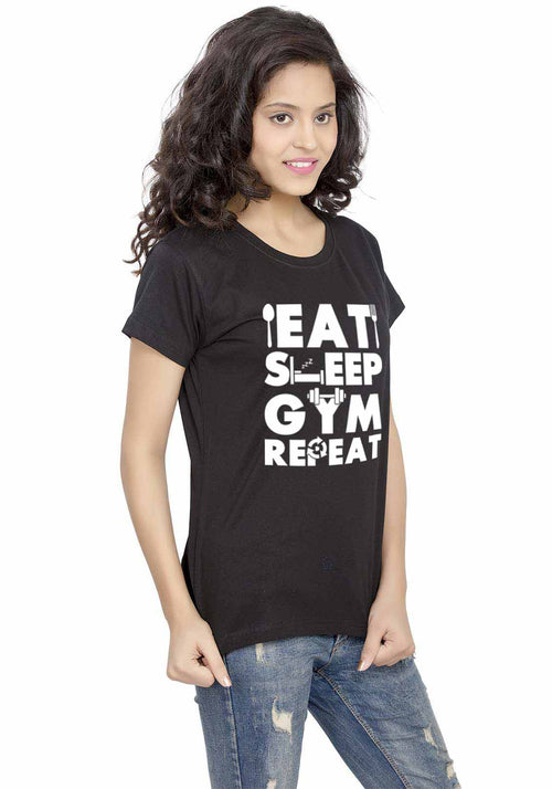 Gym Repeat Women Tshirt - Wear Your Opinion - WYO.in  - 1