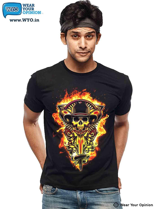 Fire Skull T-Shirt - Wear Your Opinion - WYO.in  - 2