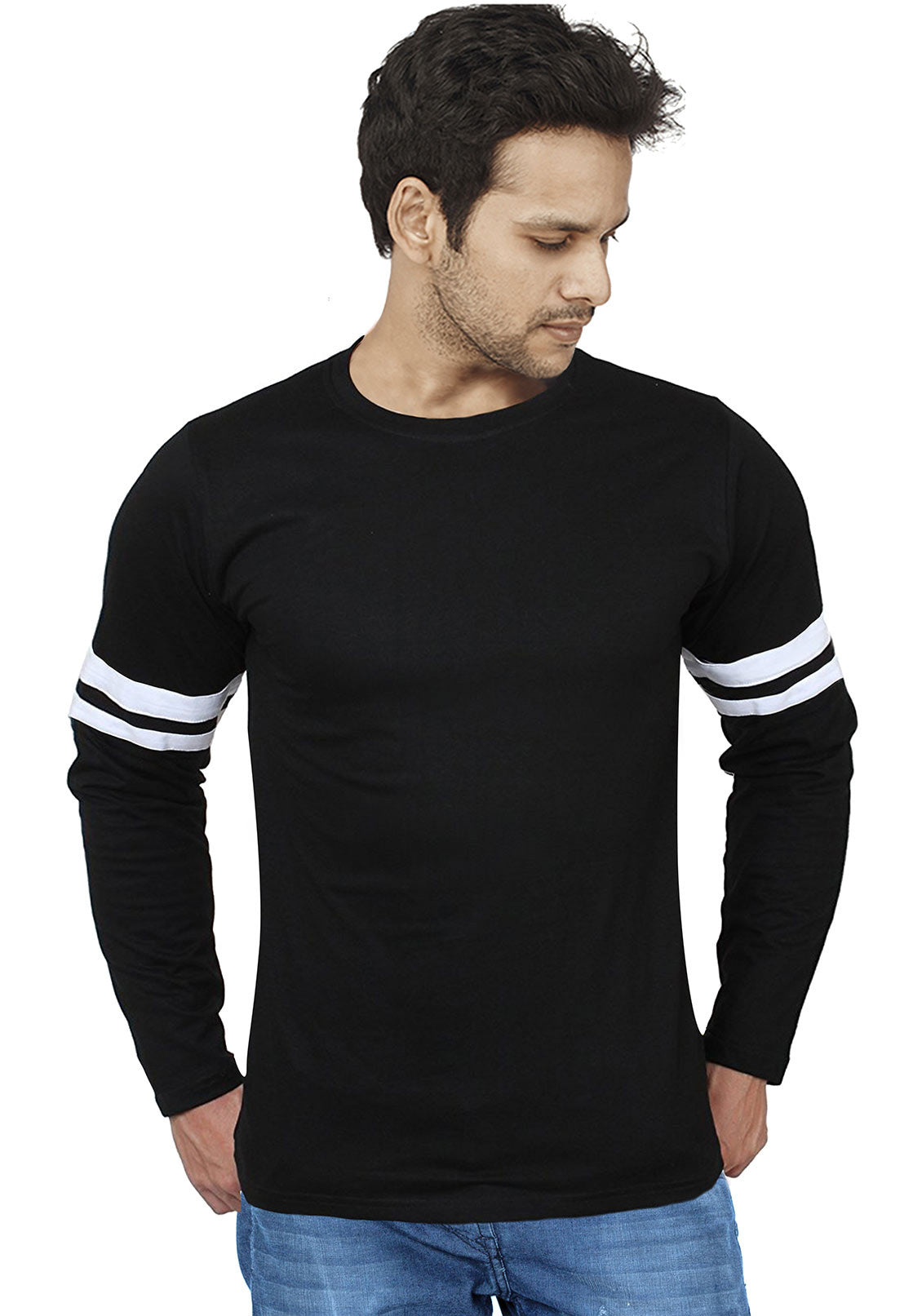 Sport Trim Striped Plain Full Sleeves T Shirt - Wear Your Opinion ...