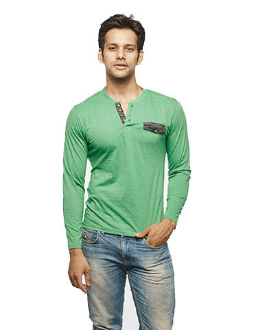 Denim Placket Green Full Sleeve Henley - Wear Your Opinion - WYO.in  - 1
