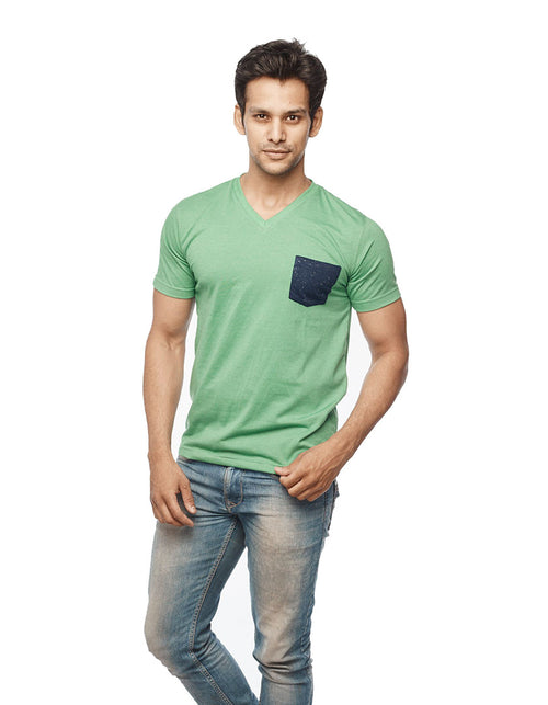 Green V Neck T-Shirt Patch Pocket - Wear Your Opinion - WYO.in  - 1