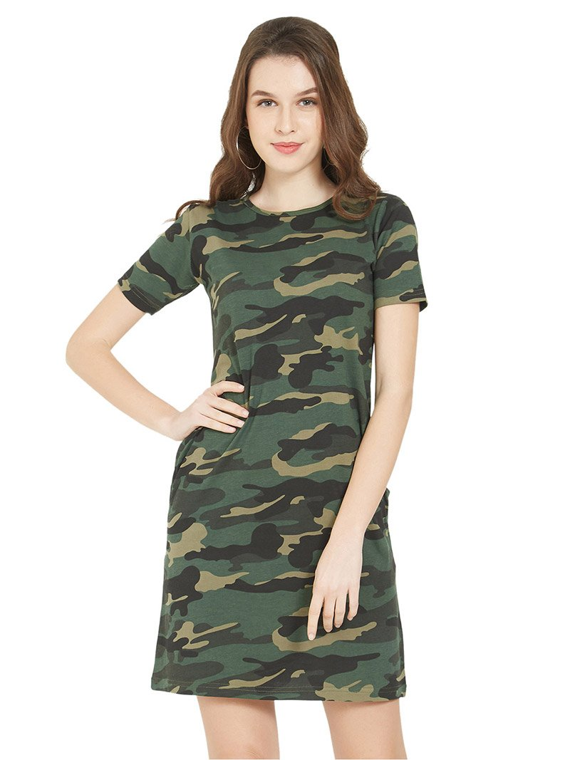 Green Camo Women T-Shirt Dress
