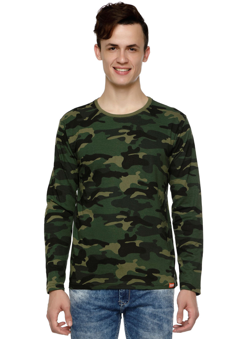 Plain Full Sleeves Tshirt - Green Camo