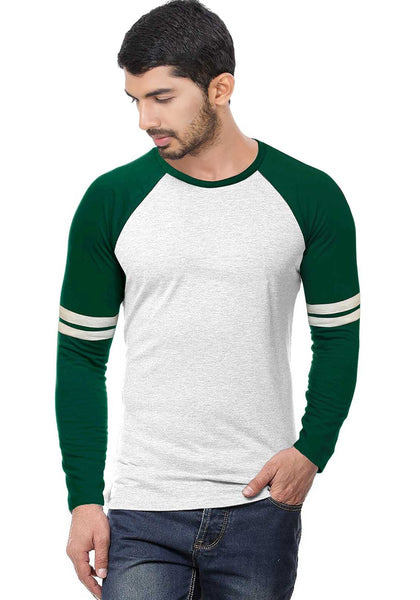 Green - Ecru Stripe Raglan Full sleeve - Wear Your Opinion - WYO.in