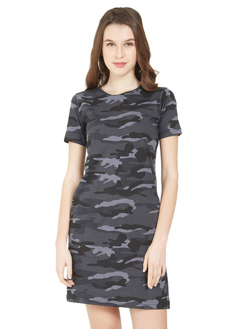 Grey Camo Women T-Shirt Dress