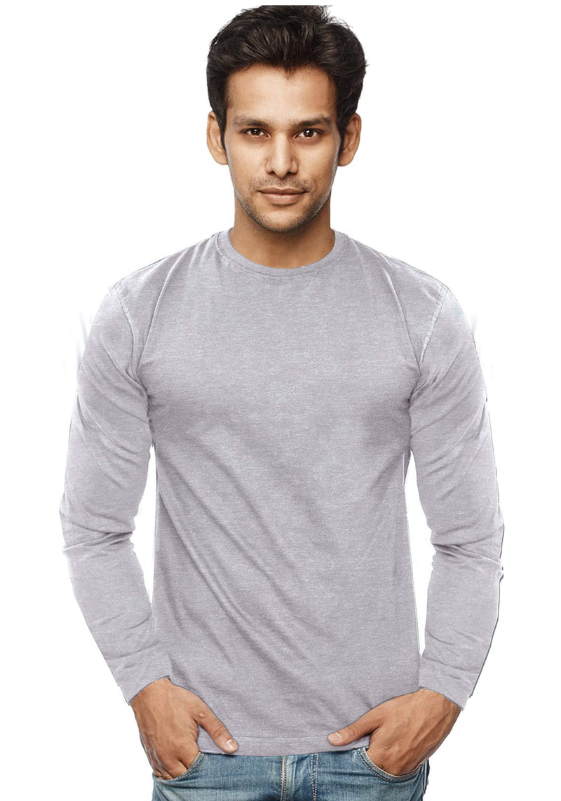 Plain Full Sleeves Tshirt - Grey Mel - Wear Your Opinion - WYO.in