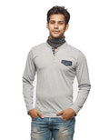 Denim Placket Grey Full Sleeve Henley - Wear Your Opinion - WYO.in  - 1