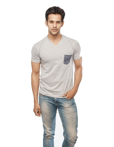 Grey V Neck T-Shirt Patch Pocket - Wear Your Opinion - WYO.in  - 1