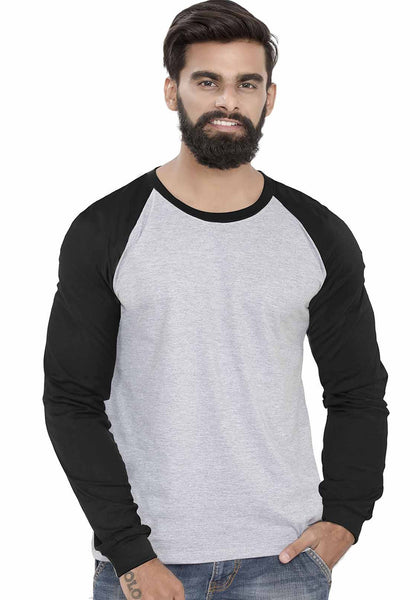 Black - Grey Mel Raglan Full Sleeve