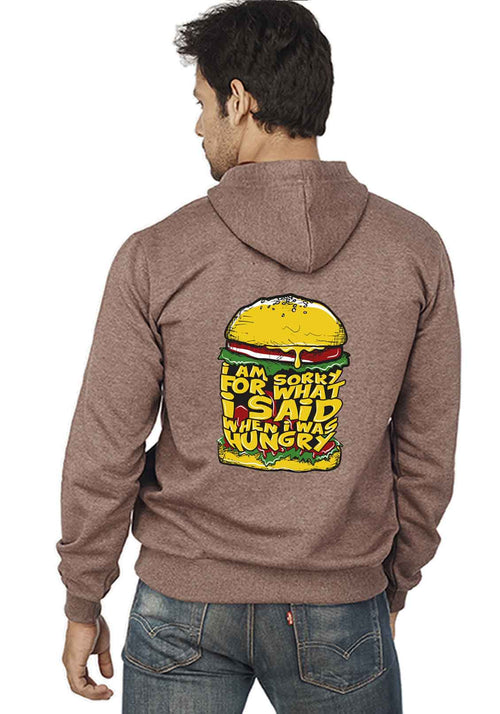 Hungry Back Print Zipper Sweatshirt - Wear Your Opinion - WYO.in