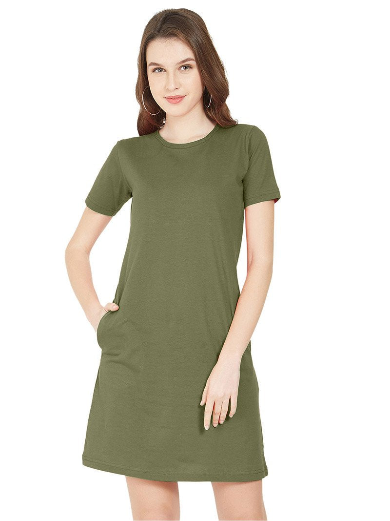 Plain Khaki Women T-Shirt Dress