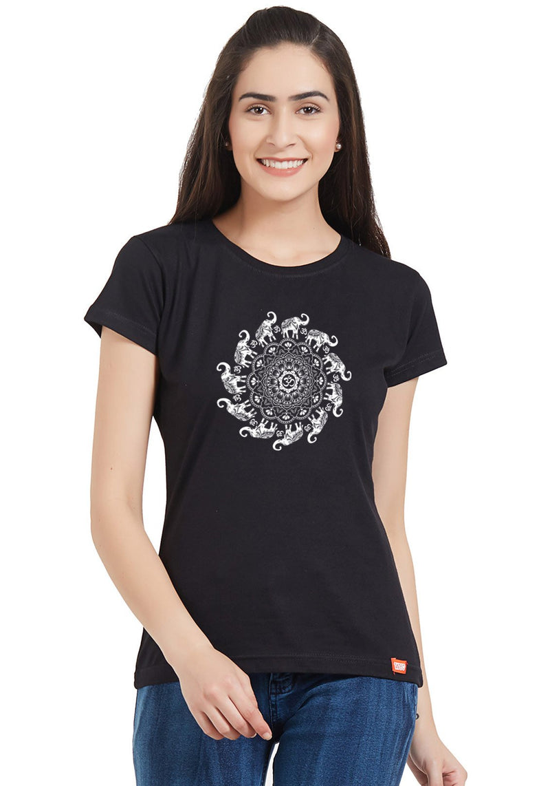 Om Elephant Women Round Neck Printed Tshirt
