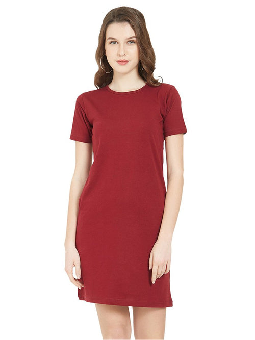 Plain Maroon Women T-Shirt Dress