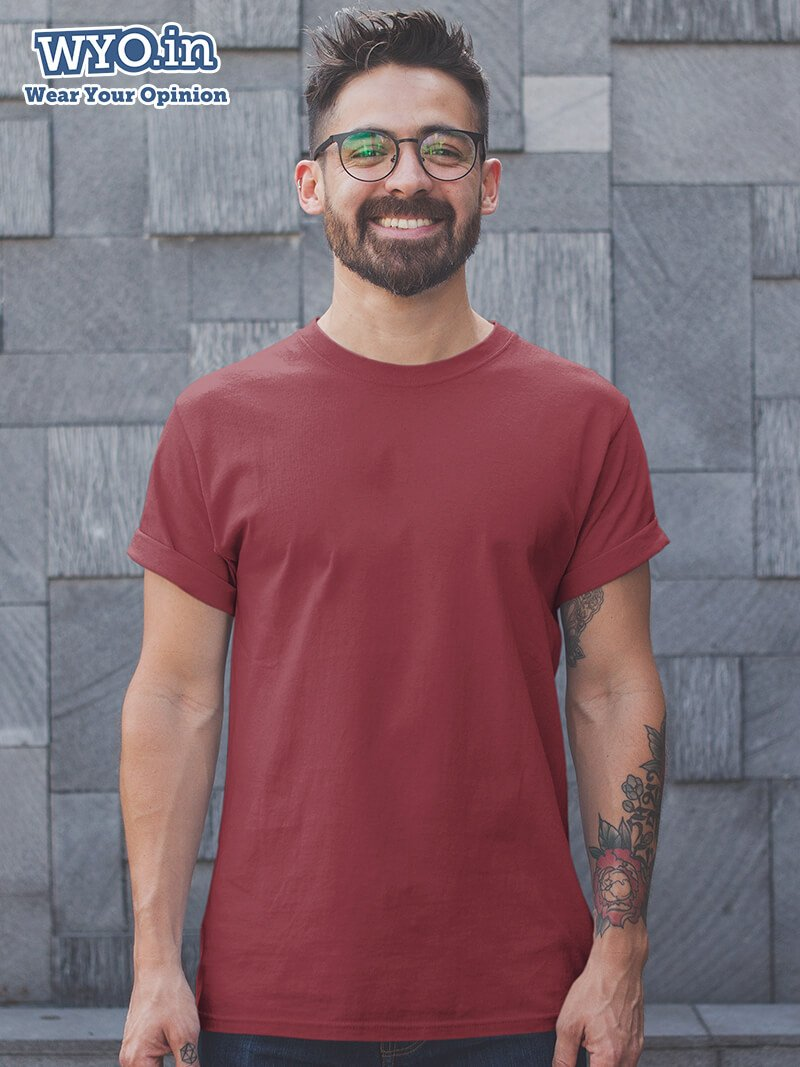Plain Men's Tshirt - Maroon