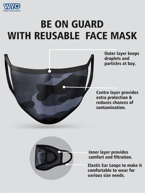 Reusable Camo Mask - Three Ply (Pack Size 3 - 5 - 10)