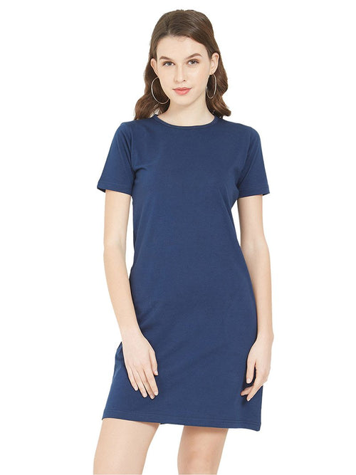 Plain Navy Women T-Shirt Dress