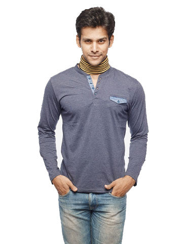 Denim Placket Navy Full Sleeve Henley - Wear Your Opinion - WYO.in  - 1