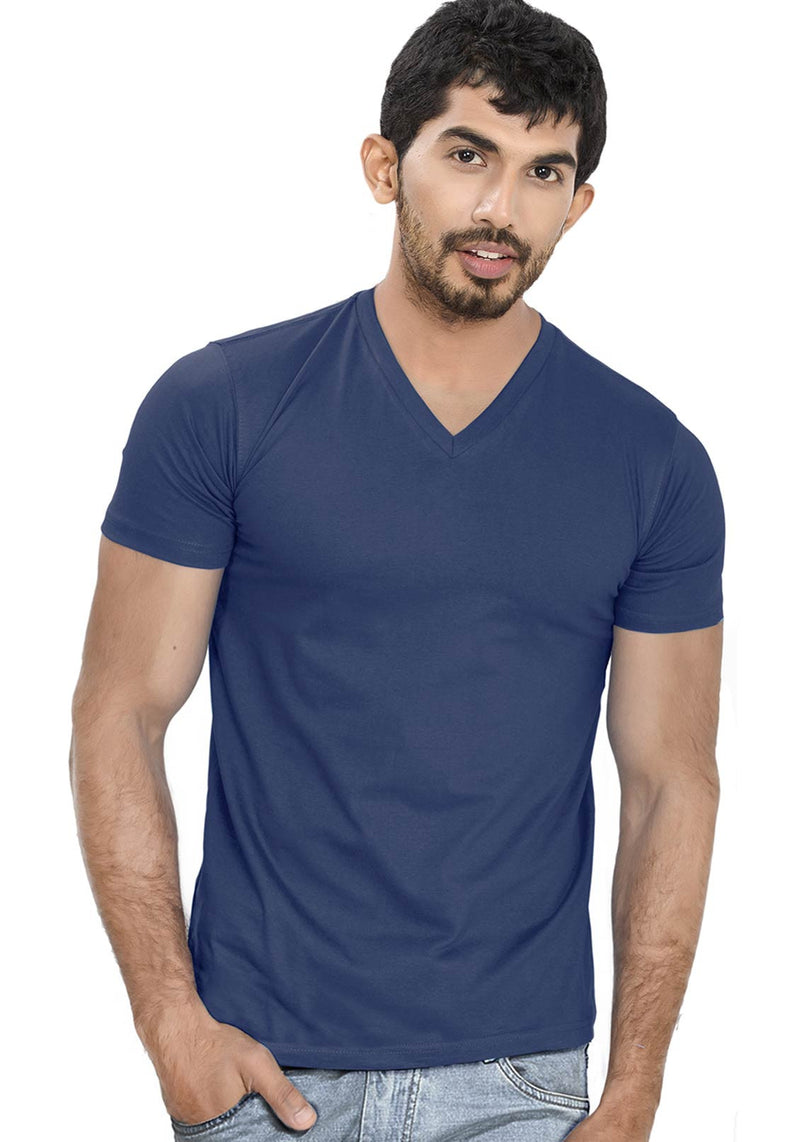 Navy Blue V Neck Plain T-Shirt