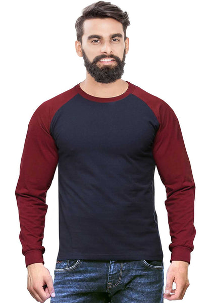 Burgundy - Navy Raglan Full Sleeve