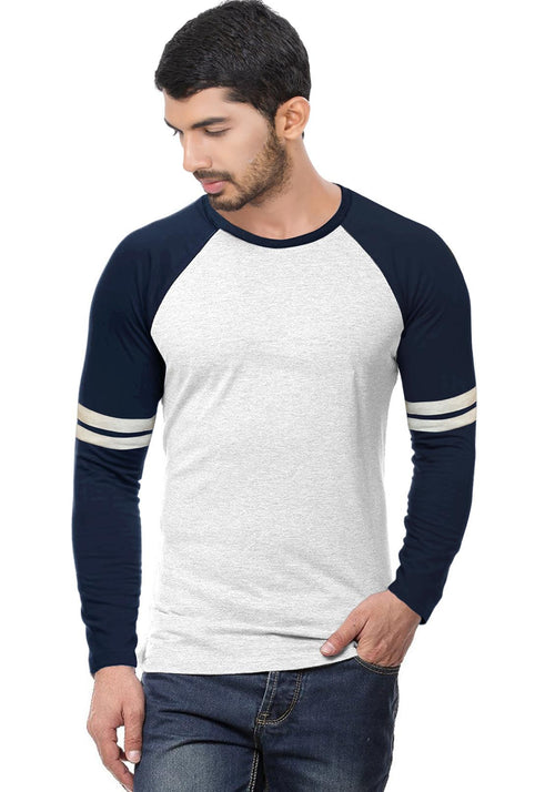 Navy - Ecru Stripe Raglan Full sleeve - Wear Your Opinion - WYO.in