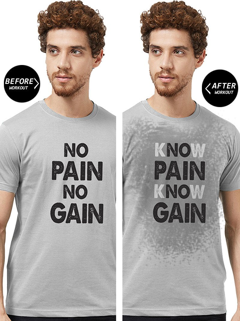 New Know Pain Know Gain Black T Shirt Muscle Workout Gym Tee no motivation