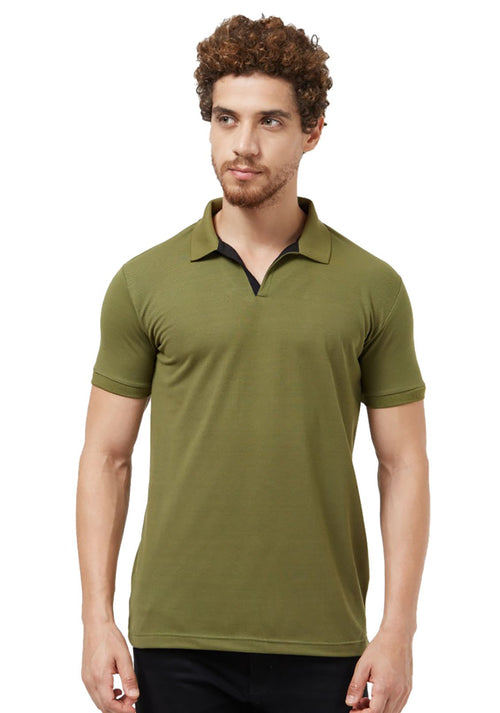 Basic Slim Fit PQ Polo T-Shirt - Olive