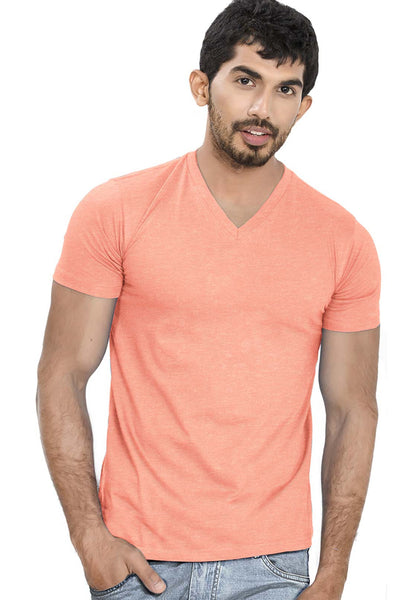 Peach V Neck Plain T-Shirt